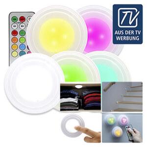 HandyLux ColorClick - bunte Lichterwelt mit nur einem Klick - kabellos, leicht und flexibel einsetzbar - kein Bohren oder Schrauben erforderlich - mit energiesparenden LEDs in 12 versch. Farben