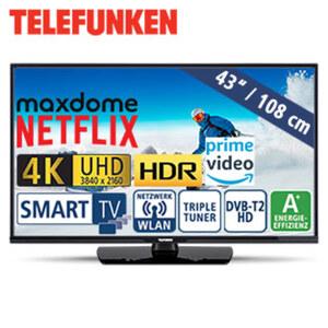 "43""-Ultra-HD-LED-TV D43U470N4CWH • HbbTV, 1.200-Hz-Technik • 3 HDMI-/2 USB-Anschlüsse, CI+ • Stand-by: 0,5 Watt, Betrieb: 54 Watt • Maße: H 69,2 x B 118,2 x T 9,3 cm • Energie-Effizienz A"