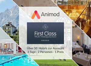 Animod First-Class Multigutschein 3 Tage für 2 Personen in einem Frist Class Hotel Hotelgutschein - Versand per E-Mail