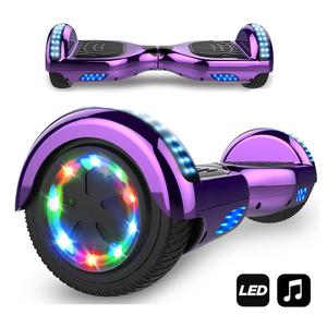 Hoverboard-MARKBOARD-Elektro Scooter 6,5 LED Elektro Scooter mit Motorbeleuchtung E-Skateboard Elektroroller Bluetooth LED chrom lila