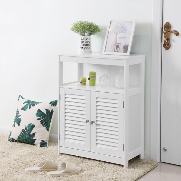 VASAGLE Badschrank mit 2 Lamellentüren weiß aus Holz ...