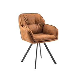 Drehbarer Retro Design Stuhl MR. LOUNGER hellbraun mit Armlehne Esszimmerstuhl