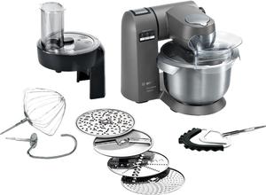 Bosch MUMX30GXDE Küchenmaschine, Edelstahlgehäuse, 1600 Watt, 5,4 l Behälter, Küchenmaschinenaufsatz