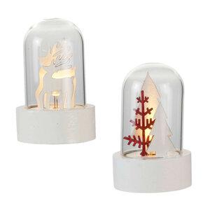 ProVida LED Glaskuppel mit Holzdeko in verschiedenen Varianten