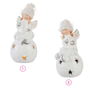 ProVida Engel auf LED Kugel mit Sternen Keramik in verschiedenen Varianten