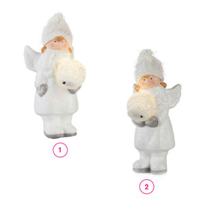 ProVida Engel stehend mit LED Schneekugel in verschiedenen Varianten