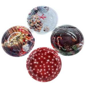 Weihnachtsteller rund Ø 26 cm aus Metall in vier Motiven