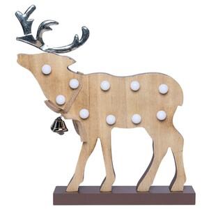 LED-Standdeko Hirsch aus Holz mit 10 LEDs und Glöckchen
