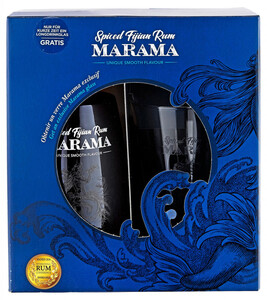 Marama Spiced Rum in Geschenkverpackung mit Glas