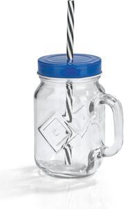HSV Trinkglas 450ml mit Strohhalm