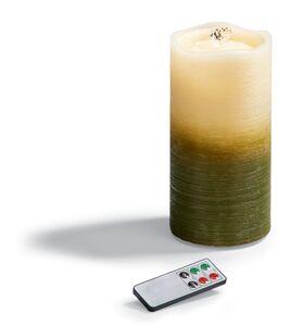 Dekor LED Brunnen-Echtwachskerze, grün
