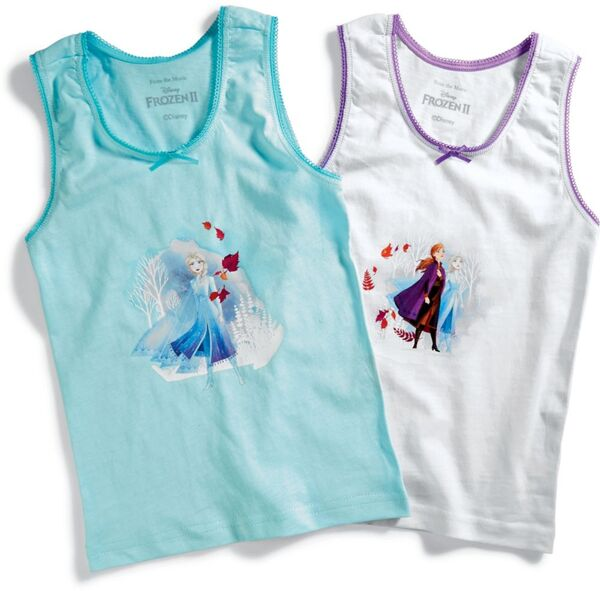Kinder Unterhemd Disney Frozen II, 2er Pack - hellblau & weiß, Gr. 110/116