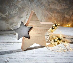 Dekor Betonaufsteller mit Holz - Stern groß