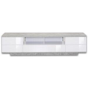 TV-Lowboard - weiß Hochglanz - Beton-Optik