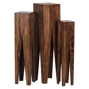 Carryhome BLUMENTISCHSET Holz Akazie massiv, Braun