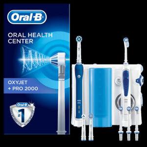 Oral-B Mundpflege-Center Pro 2000 + OxyJet Munddusche, blau|weiss