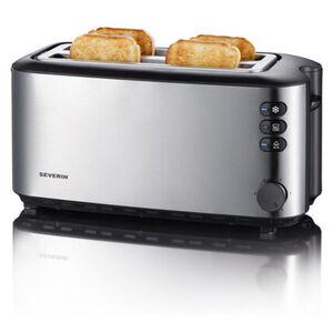 Severin Automatik-Toaster AT 2509, langschlitz, Edelstahl-gebürstet-schwarz