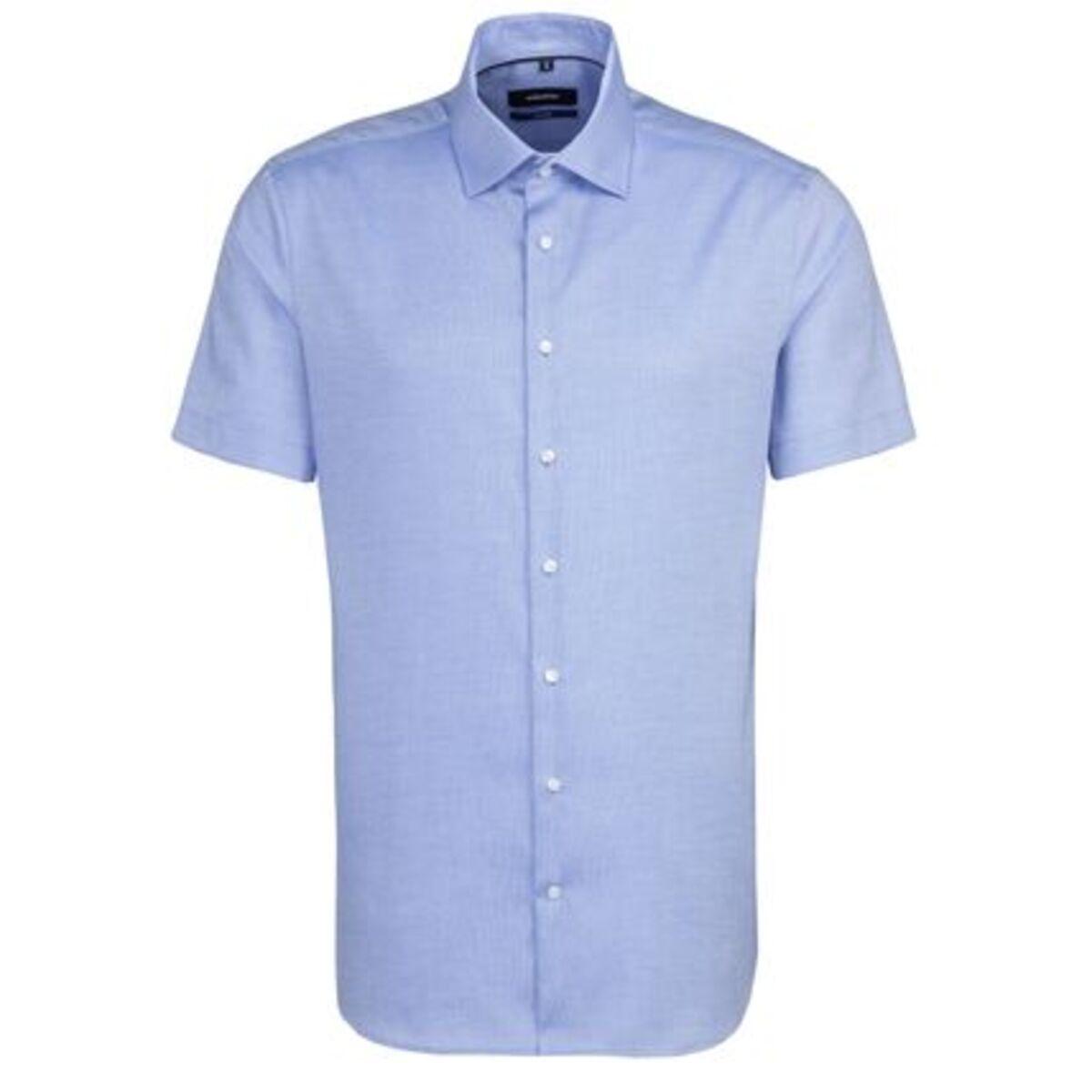Bild 1 von Seidensticker Business Hemd Tailored Kurzarm Kentkragen Uni, mittelblau