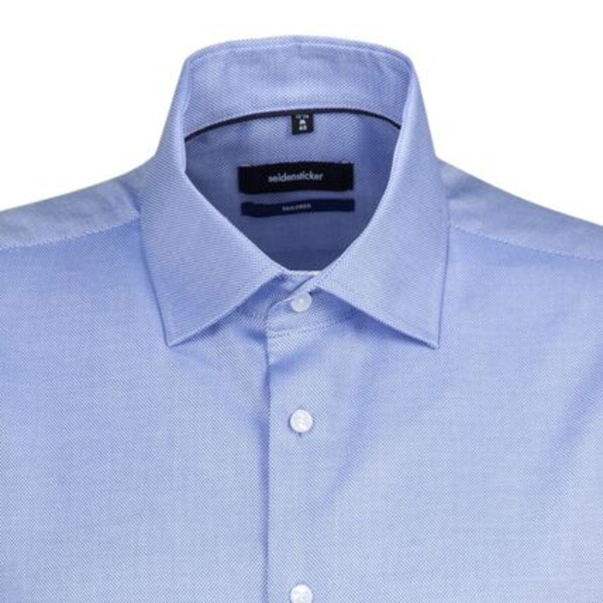 Bild 2 von Seidensticker Business Hemd Tailored Kurzarm Kentkragen Uni, mittelblau