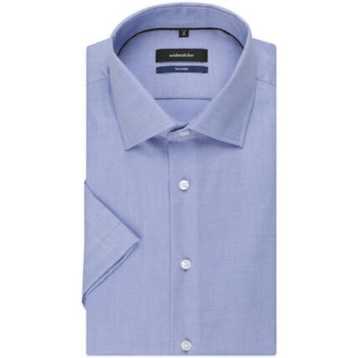 Bild 3 von Seidensticker Business Hemd Tailored Kurzarm Kentkragen Uni, mittelblau