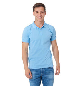 Superdry Poloshirt, Kurzarm, Baumwolle, Logo-Stickerei, hellblau, L