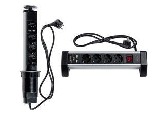 POWERFIX® Steckdosenleiste, 3-fach oder 4-fach, für Tische, mit 2 USB-Buchsen