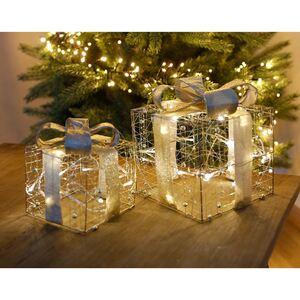 Weihnachtsdeko Geschenk mit 20 LEDs 20x20x23cm Silber