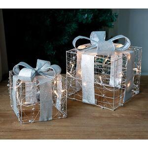 Weihnachtsdeko Geschenk mit 10 LEDs 15x15x17cm Silber