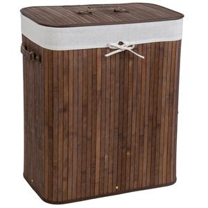 Wäschekorb mit Wäschesack eckig braun 100 L
