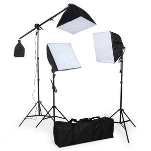 3 Studioleuchten im Set mit Softbox, Stativ und Tasche