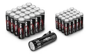 40-teiliges Aktionspack mit 20 x Mignon und 20 x Micro Batterien + GRATIS LED Taschenlampe Ansmann