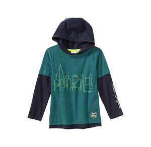Jungen-Kapuzenpullover mit Skyline-Frontaufdruck