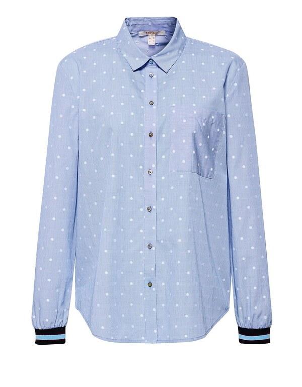 Esprit - Hemdbluse mit Rippbündchen
