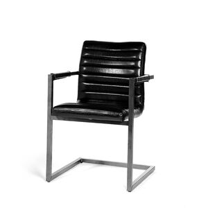 Schwingstuhl mit Armlehnen, Lederoptik, H:57cm, schwarz