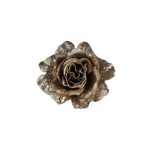 Rose Glimmer auf Clip, L:10cm, champagne