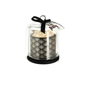 Stumpenkerze mit Glocke Artdeco, D:8cm x H:11cm, schwarz