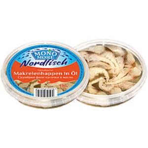 Gesalzene Makrelenhappen (Scomber scombrus) in Öl