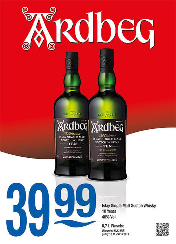 Ardbeg Islay Single Malt Scotch Whisky 10 Years 46% Vol.