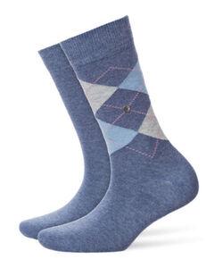 Burlington Damen Socken, 2er-Pack, rauchblau, 36-41, blau, 36-41