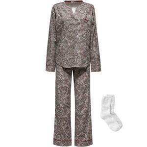 Esprit Damen Flanell-Pyjama mit Kuschelsocken