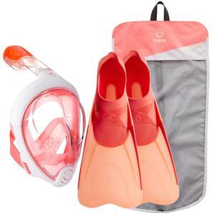 Schnorchel-Set Easybreath Maske und Flossen rosarot