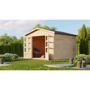 Karibu Holz-Gartenhaus Tessin 2 Natur 300 cm x 300 cm inkl. Massivholzboden