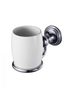 Badkomfort Zahnputzglas, Zahnputzbecher Porzellan mit Wandhalterung, Edelstahl verchromt