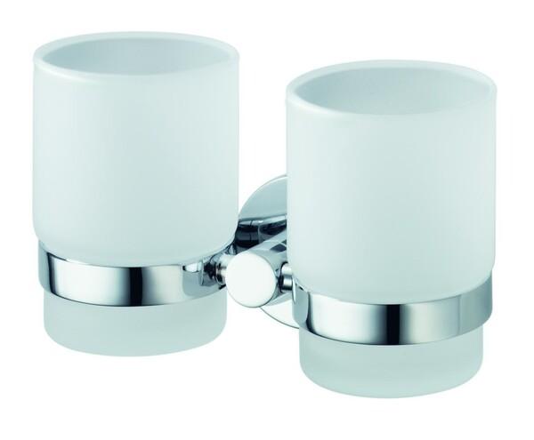 Badkomfort Zahnputzbecher, Zahnputzglas Doppelglashalter, verchromt