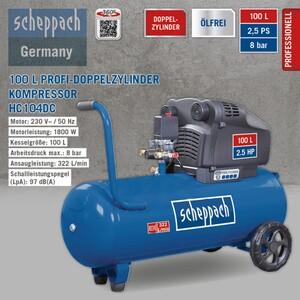 Scheppach HC104DC 100 L Profi-Doppelzylinder Kompressor