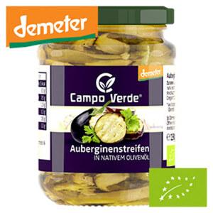 Campo Verde Demeter Auberginenstreifen in Extra nativen Olivenöl jedes 190-g-Glas