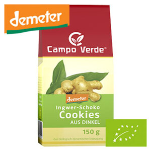 Campo Verde Demeter Ingwer-Schoko aus Dinkel, Aprikosen mit Mandeln oder Pefferminz mit Schokolade Cookies, jede 150-g-Packung
