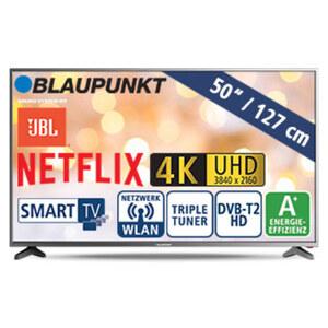 """50""""-Ultra-HD-LED-TV BLA-50U405V • 3 HDMI-/2 USB-Anschlüsse, CI+, SD-Kartenslot • 2 x 10 Watt RMS • Stand-by: 0,5 Watt, Betrieb: 70 Watt • Maße: H 65,7 x B 112,4 x T 8,6 cm • Energie-Effiz"""