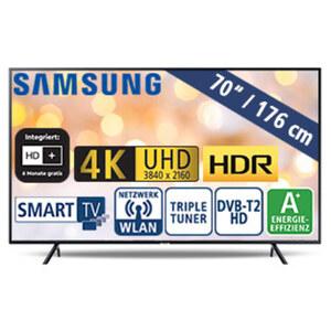 """70""""-Ultra-HD-LED-TV UE70RU7099 • HbbTV • 3 HDMI-/2 USB-Eingänge, CI+ • 20 Watt RMS • Stand-by: 0,5 Watt, Betrieb: 140 Watt • Maße: H 87,8 x B 157,5 x T 6 cm • Energie-Effizienz A+ (Spek"""