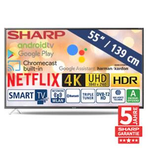 "55""-Ultra-HD-LED-TV 55BL2EA • HbbTV • 3 HDMI-/2 USB-Eingänge, Micro-USB-Anschluss, CI+, Micro-SD-Kartenslot • 2 x 10 Watt RMS • Stand-by: 0,5 Watt, Betrieb: 110 Watt • Maße: H 71,8 x B 12"